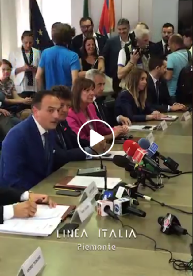 Il presidente della Regione Piemonte Alberto Cirio presenta la nuova giunta