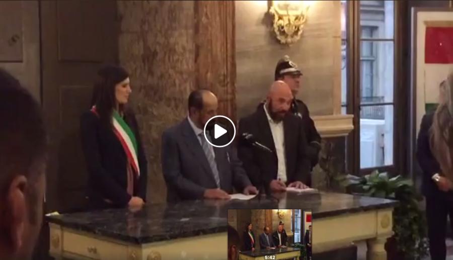 Lo sceicco di Sharja (Emirati Arabi Uniti) a Torino ricevuto da Chiara Appendino a Palazzo Civico.
