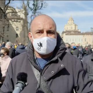 Manifestazione del Goia Sindacato ambulanti in piazza Castello a Torino